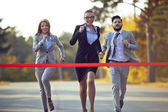 Businesspeople ready to run — Stock Photo