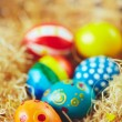 Easter eggs in hay nest — Stock Photo #69411385