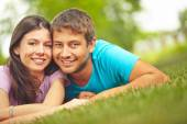 Smiling Couple in spring — Stock Photo