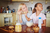 Daughter refusing from food — Stock Photo