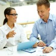 Business partners with touchpad — Stock Photo #72148713