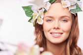 Woman with floral wreath on head — Stock Photo