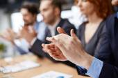 Hands applauding at conference — Stock Photo