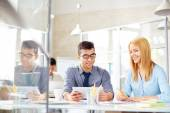 Business people learning data in office — Stock Photo