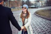 Girl and her boyfriend having date — Stock Photo