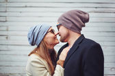 Couple touching by noses — Stock Photo
