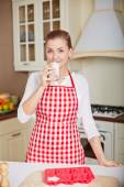 Woman with glass of kefir — Foto Stock