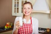 Woman with glass of kefir — Stock Photo