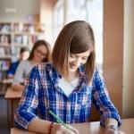 Girl filling in gaps in test form — Stock Photo #73936331
