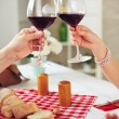 Couple with glasses of red wine — Stock Photo #74095289