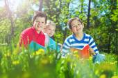 Cute children having rest in park — Stock Photo