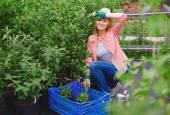 Farmer woman replanting flowers in garden — Stock Photo