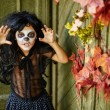 Furious girl in Halloween attire — Stock Photo #79702410