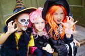 Girls in Halloween costumes — Stock Photo