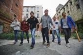 Group of spiteful hooligans — Stock Photo
