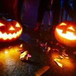 Pumpkin lanterns on floor — Stock Photo #82938706