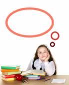 Pensive schoolgirl — Stock Photo