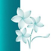 Flower greeting card blue-green — Stock vektor