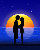 Couple on sea beach — Stock Vector
