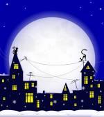 Night, cat, winter — Vecteur