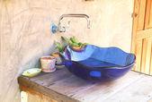蓝色的洗手盆 — 图库照片