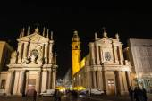The twin churches in San Carlo Square by night, Turin — ストック写真