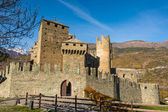 The towers of the Fenis Castle in Aosta Valley, Italy — Stock Photo