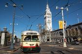 The historic tram at the Embarcadero — Foto Stock