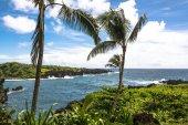The lava coast at Wai Anapanapa in Maui — Stock Photo