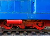 Part of the old locomotive on rails — Stock Photo