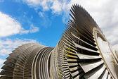 Steam turbine of nuclear power plant against  sky — Stock Photo