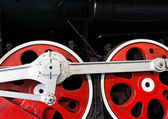 Wheels  of the old locomotive on an rail — Stock Photo