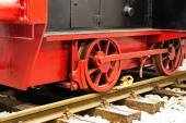 Wheels  of old locomotive on the rails — Stock Photo