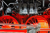 Wheels  of an old locomotive on the rails — Stock Photo
