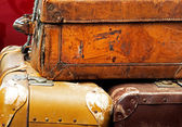 Old leather suitcases in the  car trunk — Stok fotoğraf
