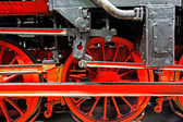 Wheels  of a locomotive on the rails — Stock Photo