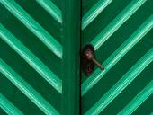 Old wooden door in turquoise color — Stock Photo