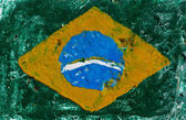 Flag of Brazil on concrete wall — Stock Photo