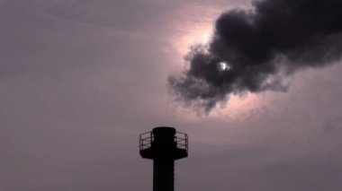 Smokestack against a sky — Stock Video