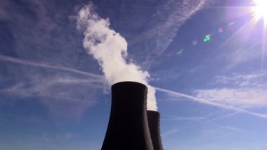 Cooling tower of nuclear power plant against the sky — Stock Video