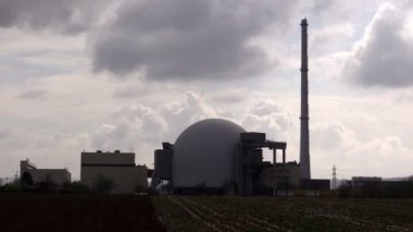 Nuclear reactor dome against  sky — Stock Video