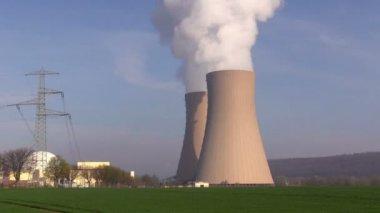Nuclear station against   blue sky — Vídeo de Stock