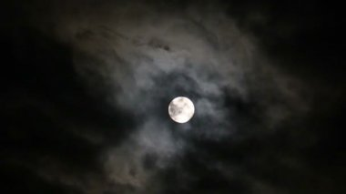 Moon on black night sky and floating clouds — Stock Video