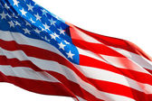 American flag in the wind  on white background — Stock Photo