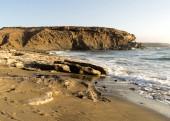 Sea surf on the rocks in area  La Pared on Fuerteventura — Stock Photo
