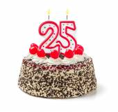 Birthday cake with burning candle number — Stock Photo