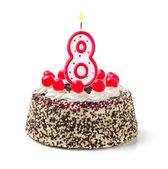 Birthday cake with burning candle number — Stock Photo