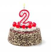 Narozeninový dort s hořící svíčka číslo 2 — Stock fotografie