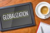 Tablet on a desk - Globalization — Stock Photo