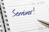 Seminar written on a calendar page — Stock Photo